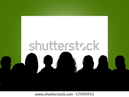 Illustration of a group of people looking at a blank screen - stock photo