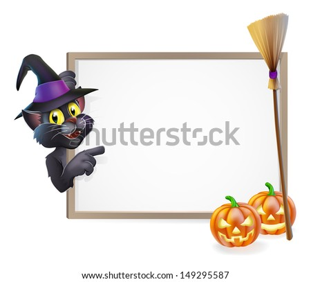 Illustration of a Halloween black witch's cat sign background - stock photo