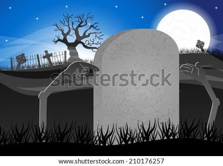 illustration of a halloween grave stone to write on - stock photo