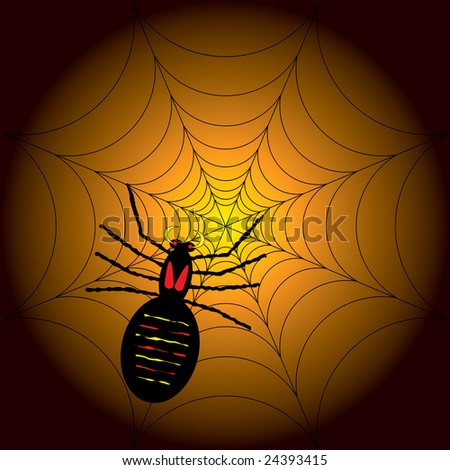illustration of a halloween spider on its web with a orange and black background - stock photo