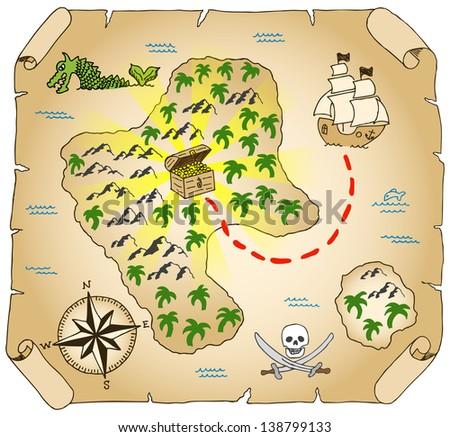 illustration of a hand-drawn treasure map - stock photo