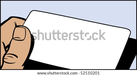 Illustration of a hand holding a card in a pop art/comic style - stock photo