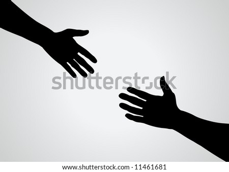 Illustration of a hand reaching out for another - stock photo