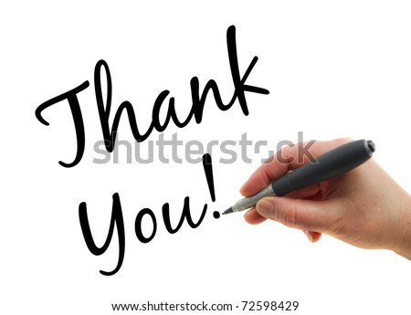 Illustration of a hand with a pen writing Thank You note on white paper background - stock photo
