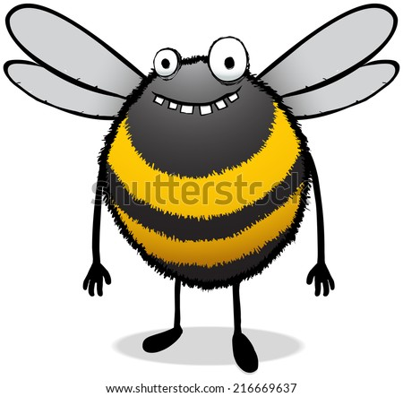 Illustration of a happy and stupid looking worker bee cartoon character - stock photo