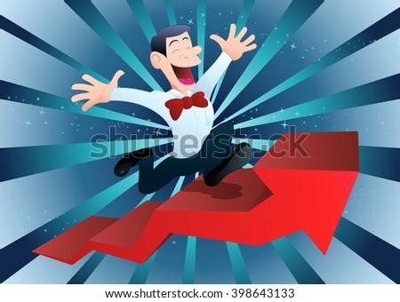 illustration of a happy businessman climbing ascending arrow - stock photo