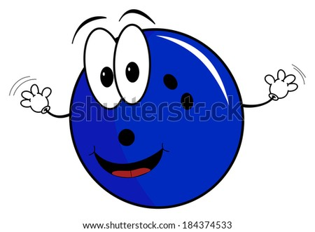Illustration of a happy cartoon bowling ball character waving its hands isolated on white background - stock photo