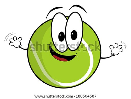 Illustration of a happy cartoon tennis ball character waving its hands isolated on white background - stock photo
