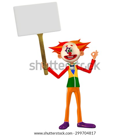 Illustration of a happy clown holding a sign isolated on a white background - stock photo
