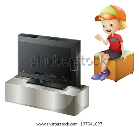Illustration of a happy kid watching TV on a white background - stock photo