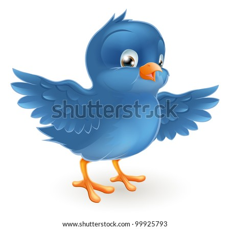 Illustration of a happy little bluebird with wings outstretched - stock photo
