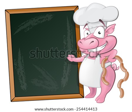 Illustration of a happy Pig Chef holding sausages standing next to Blank Chalkboard ready to cook some delicious food. - stock photo