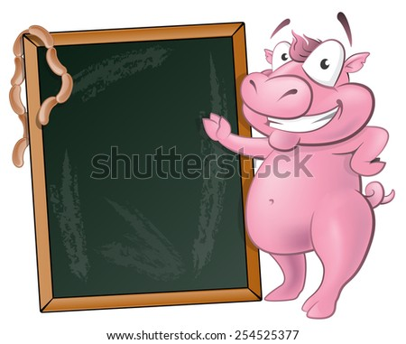 Illustration of a happy Pig standing next to Blank Chalkboard ready to sell some delicious Pork based products. - stock photo