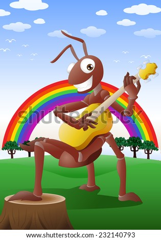 illustration of a happy red ant playing guitar on nature background - stock photo