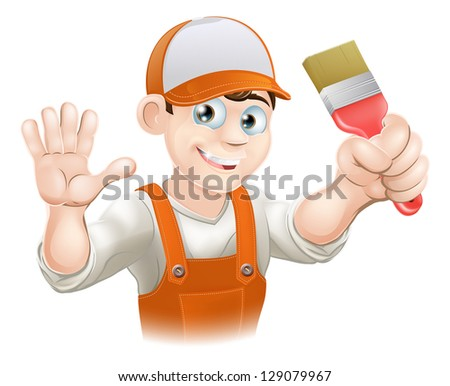 Illustration of a happy smiling cartoon painter or decorator holding a paintbrush and waving - stock photo