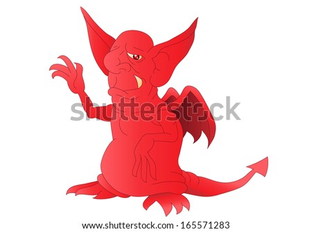 illustration of a hideous red satan smiling on isolated white background - stock photo