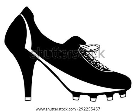 Illustration of a high-heeled ladies football boot - stock photo