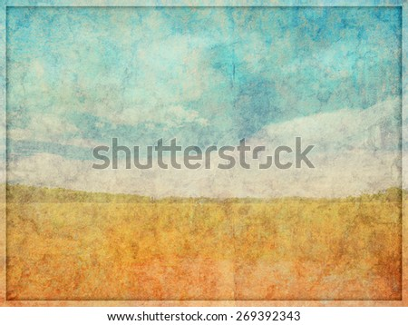 Illustration of a highly faded and worn, background texture with overlayed landscape like drawn scene. - stock photo