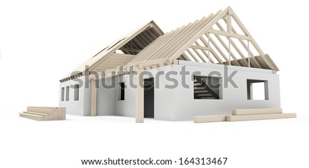 illustration of a house construction site - stock photo