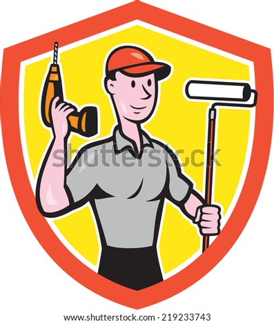 Illustration of a house painter handyman holding paint roller and cordless drill set inside shield crest on isolated background done in cartoon style.  - stock photo