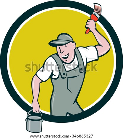 Illustration of a house painter wearing hat holding paintbrush and can bucket of paint looking to the side smiling set inside circle on isolated background done in cartoon style.  - stock photo