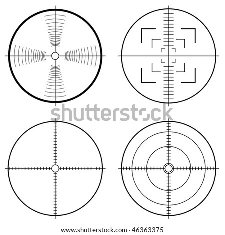 Illustration of a hunting sight with target lines and guide to aim - stock photo
