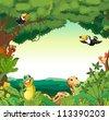 Illustration of a jungle scene - stock photo