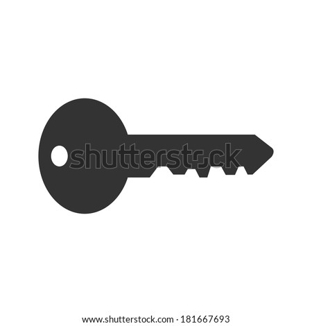 Illustration of a key silhouette isolated on a white background. Vector file available. - stock photo
