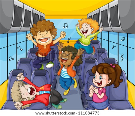 illustration of a kids in the bus - stock photo