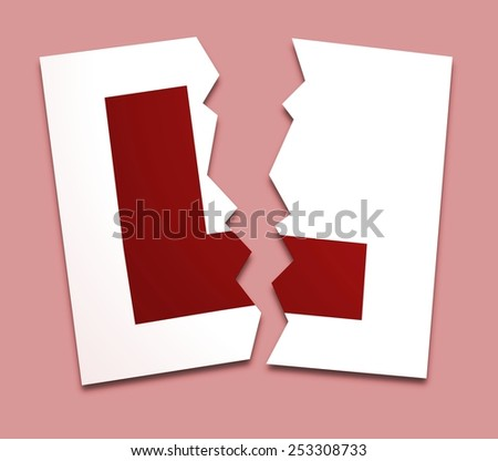 Illustration of a L-plate torn in two over a pink background - stock photo