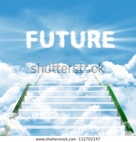 Illustration of a ladder leading upward to the future - stock photo