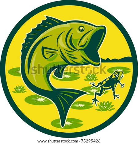 illustration of a largemouth bass jumping with frog and lily pads set inside a circle done in retro woodcut - stock photo