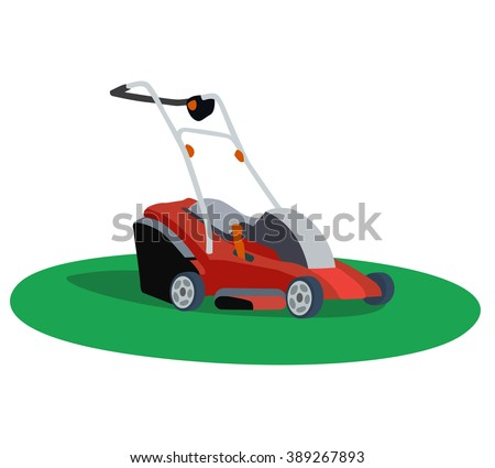 Illustration of a lawn mower on white background - stock photo