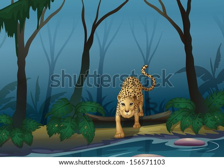 Illustration of a leopard in the middle of the forest - stock photo
