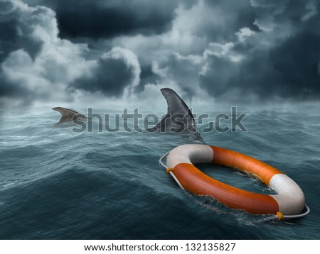 Illustration of a lifebuoy adrift in the ocean surrounded by hungry sharks - stock photo
