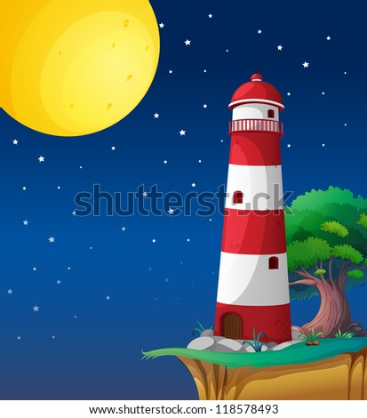 illustration of a light house in a dark night - stock photo