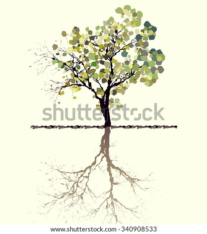 Illustration of a lone tree reflected in water - stock photo