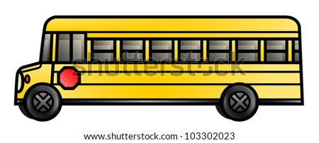 Illustration of a long cartoon school bus. Raster. - stock photo