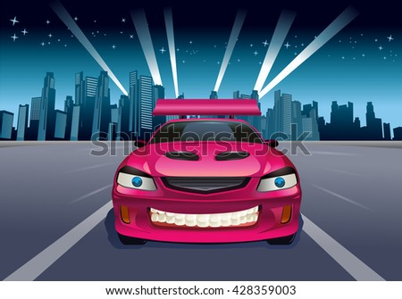 illustration of a luxury red car on city background - stock photo