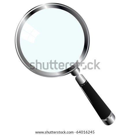 illustration of a magnifying glass over white background - stock photo
