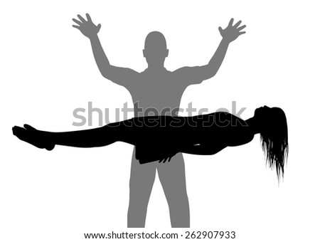 Illustration of a man and woman performing levitation - stock photo