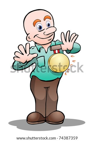 illustration of a man confer medals of achievement red ribbon award.inside area of medal can be  personalized - stock photo