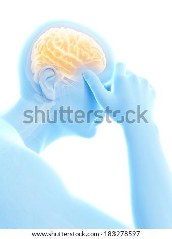 illustration of a man having a headache - stock photo