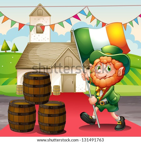 Illustration of a man holding a flag walking in a red carpet - stock photo