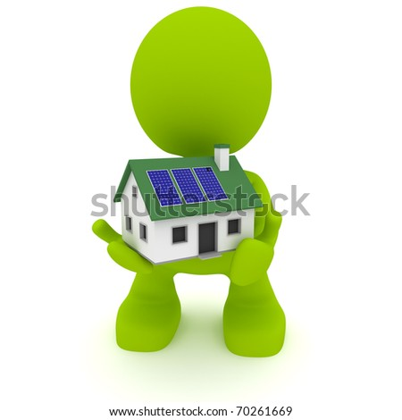 Illustration of a man holding a house with solar panels.  Green living concept.  Part of my cute green man series. - stock photo