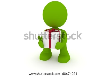 Illustration of a man holding a present in his hands.  Part of my cute green man series. - stock photo