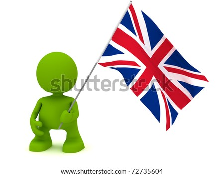 Illustration of a man holding the flag of the United Kingdom.  Part of my cute green man series. - stock photo