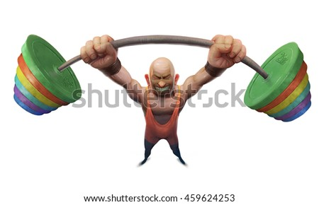 illustration of a man lifting a weight, athlete, heavy weight, a maximum effort, a great force, power, athlete weightlifter - stock photo