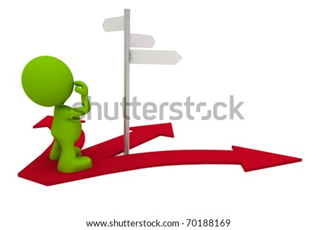 Illustration of a man looking at a street sign wondering which way to go.  Part of my cute green man series. - stock photo