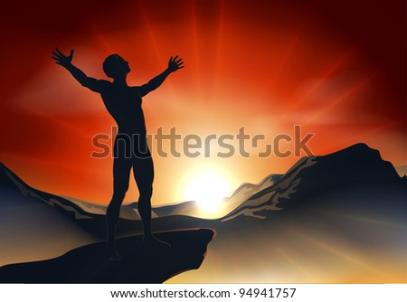 Illustration of a man on a mountain or cliff top with arms out at sunrise or sunset with light sunburst - stock photo